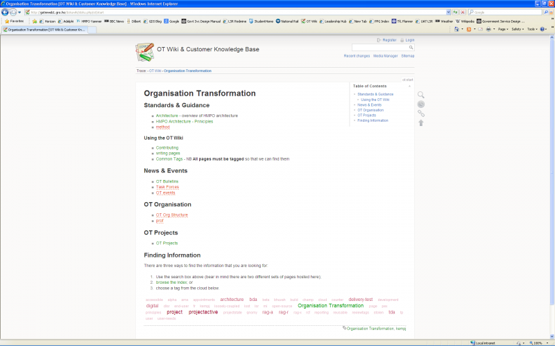 Screenshot of the default template applied to the OT start page on a widescreen monitor