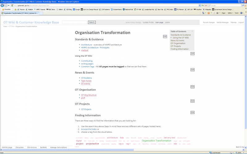 Screenshot of the Taratasy template applied to the OT start page on a widescreen monitor